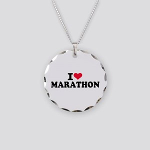I love Marathon Necklace Circle Charm