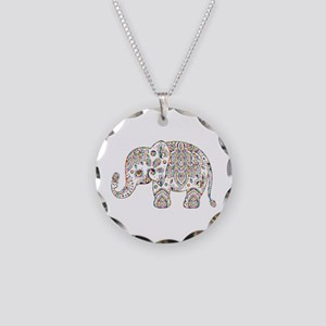 Colorful paisley Cute Elepha Necklace Circle Charm