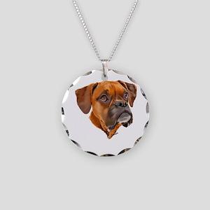 Boxer Art Portrait Necklace Circle Charm