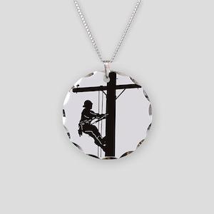 lineman silhouette 1_black Necklace Circle Charm