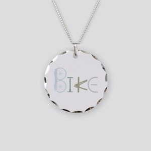 Bike Word From Bike Parts Necklace Circle Charm