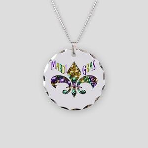Mardi Gras Fleur Necklace Circle Charm