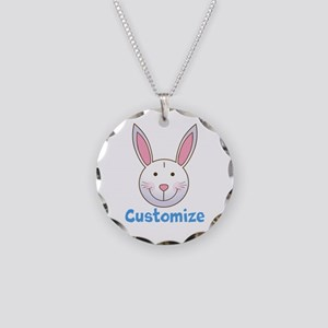 Custom Easter Bunny Necklace Circle Charm