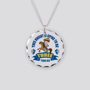 3rd Birthday Knight Necklace Circle Charm