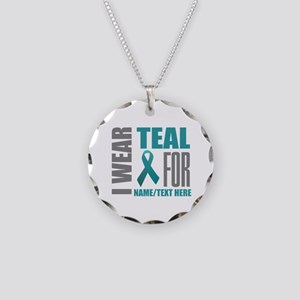 Teal Awareness Ribbon Custom Necklace Circle Charm