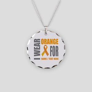 Orange Awareness Ribbon Cust Necklace Circle Charm