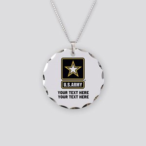 US Army Star Necklace Circle Charm
