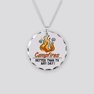 Camping Necklace Circle Charm