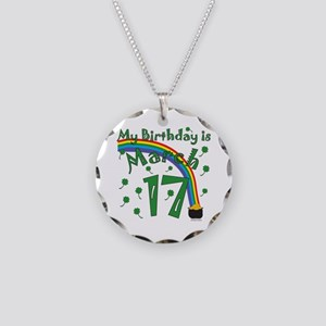 St. Patrick's Day March 17th Birthday Necklace Cir