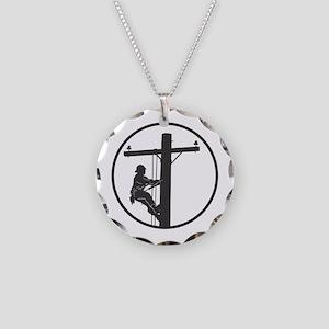 Lineman Necklace Circle Charm