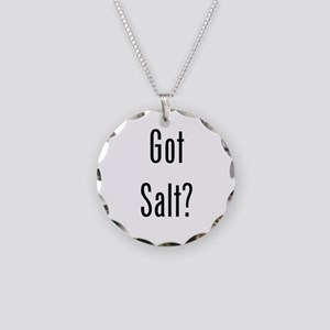Got Salt? Black Necklace Circle Charm