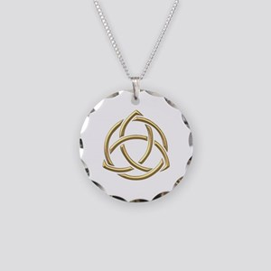 "Golden ""3-D"" Holy Trinity Symbol 1 Necklace Circle"