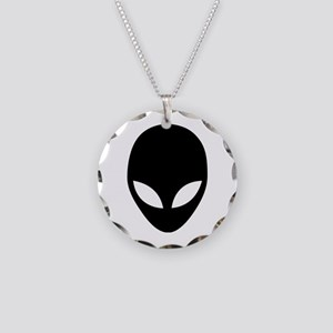 They're Here Alien Head Necklace Circle Charm