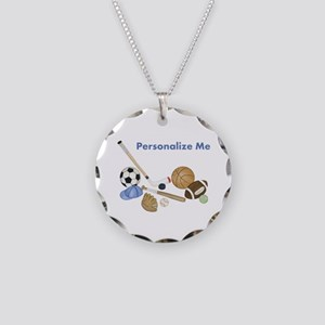 Personalized Sports Necklace Circle Charm