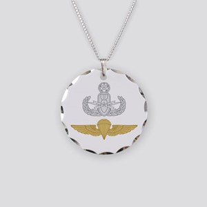 Master EOD Parachutist Necklace Circle Charm