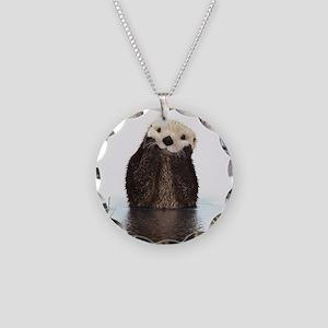 Bashful Sea Otter Necklace Circle Charm