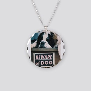 Beware of Dog Necklace Circle Charm