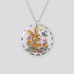 Cute Easter Bunny with Flowers and Eggs  Necklace