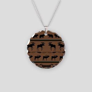 Deep Tan Cabin Blanket Necklace Circle Charm
