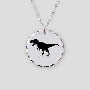 Dinosaur T-Rex Necklace Circle Charm