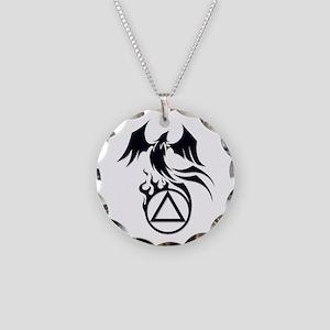 A.A. Logo Phoenix B&W - Necklace Circle Charm