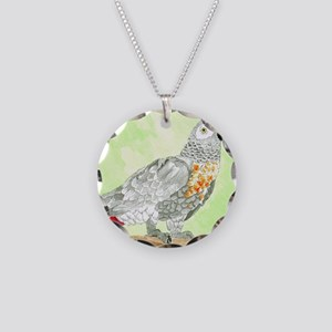 Voice-African Gray Necklace Circle Charm