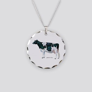 Holstein Cow Necklace Circle Charm