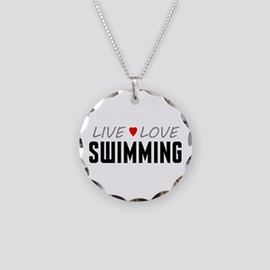 Live Love Swimming Necklace Circle Charm