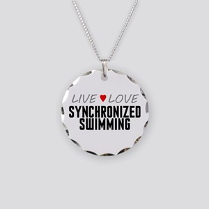 Live Love Synchronized Swimming Necklace Circle Ch