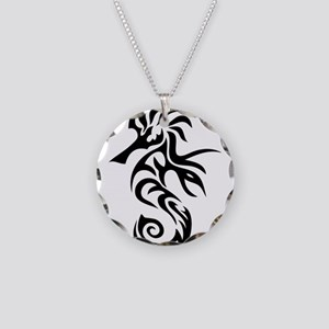 Tribal Seahorse Necklace Circle Charm