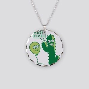 cactus_high_five Necklace Circle Charm