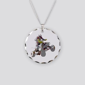 ATV Racing (color) Necklace Circle Charm