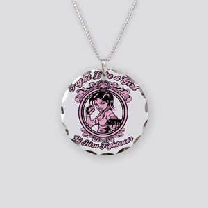 bjj fighter(girl) Necklace Circle Charm