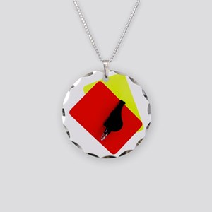 red and yellow card Necklace Circle Charm