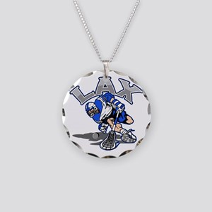 Lacrosse Player In Blue Necklace Circle Charm
