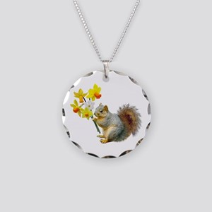 Squirrel Daffodils Necklace Circle Charm