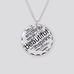 Positive Thinking Text Necklace Circle Charm
