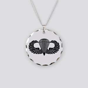 Parachutist -- B-W Necklace Circle Charm