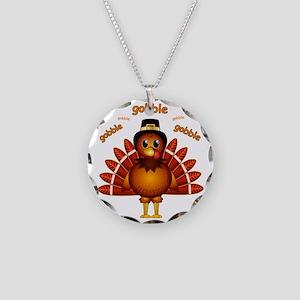 Gobble Gobble Turkey Necklace Circle Charm