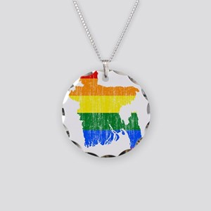 Bangladesh Rainbow Pride Flag And Map Necklace Cir