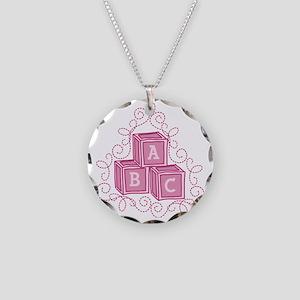 Letter Blocks Necklace Circle Charm
