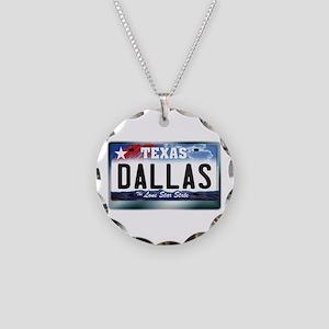 Texas License Plate [DALLAS] Necklace Circle Charm