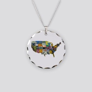 america license Necklace Circle Charm