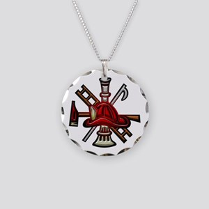 Firefighter/Rescue Tools Necklace Circle Charm