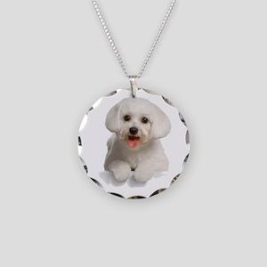 Bichon Frise Necklace Circle Charm
