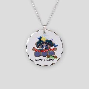 Customizable Bear Friends Necklace Circle Charm