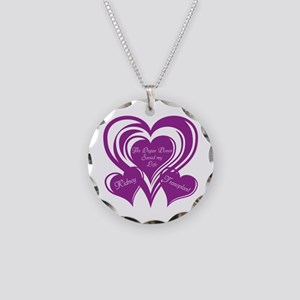 Purple love Triple Heart Necklace Circle Charm