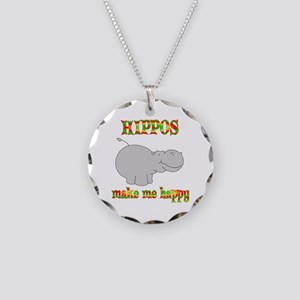 Hippos Make Me Happy Necklace Circle Charm