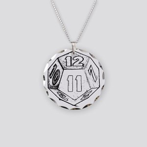 12 sided die dark Necklace Circle Charm