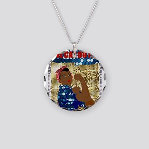 african rosie the riveter Necklace Circle Charm